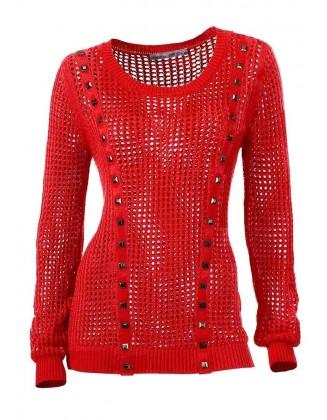 Raudonas akytas megztinis