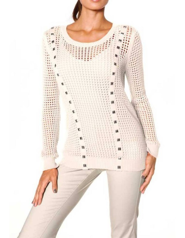 Baltas akytas megztinis