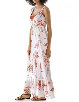 Ilga šviesi suknelė su gėlių raštu