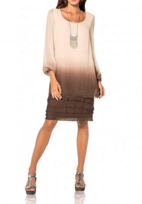 Sluoksniuota šilkinė suknelė