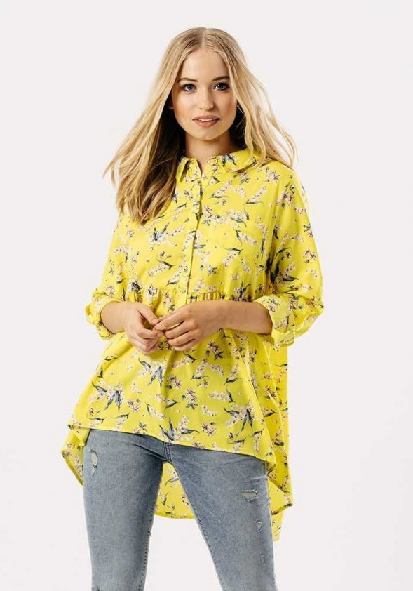 Geltoni gėlėti marškiniai. Liko 40 dydis