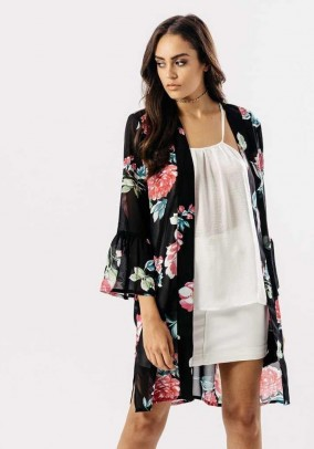 Black Floral Sheer Kimono