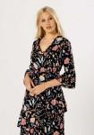 Multi Floral Asymmetric Layer Ruffle Midi Dress