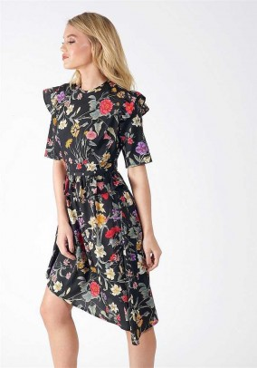 Black Floral Ruffle Shoulder Asymmetric Dress