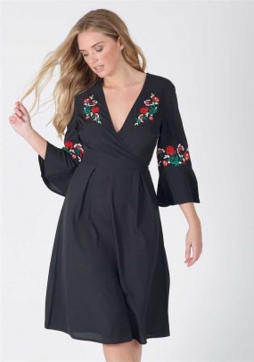 Black Embroidered Wrap Over Midi Dress
