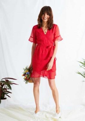 Raudona suknelė su taškeliais. Liko S ir M dydis