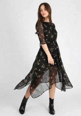 Black Floral Print Hanky Hem Midi Dress