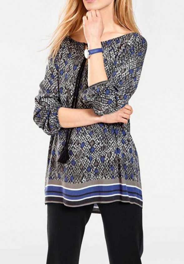 Tunic, black-blue