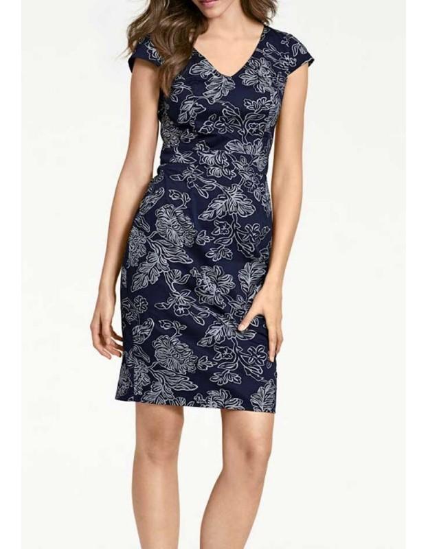 Mėlyna raštuota suknelė