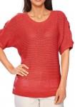 Raudonas megztinis trumpomis rankovėmis