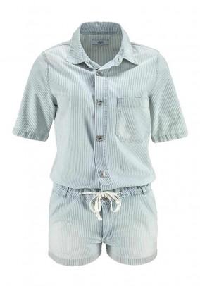 Short jumpsuit, denim striped