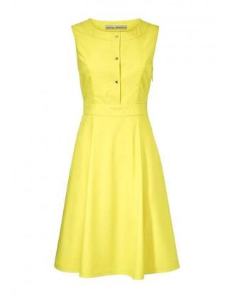 Ryškiai geltona suknelė