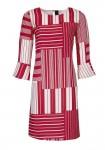Raudona dryžuota suknelė
