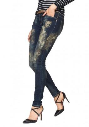 Women's jeans, blue-golden
