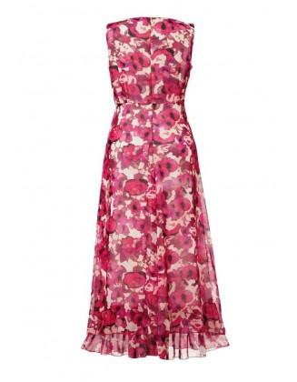 Marga raudona ilga suknelė