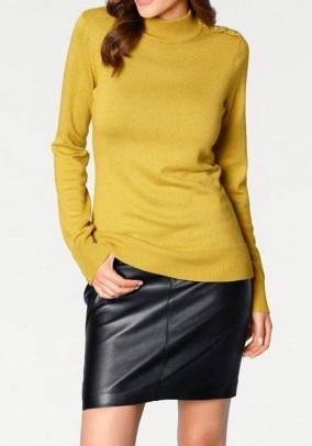 Juodas natūralios odos sijonas