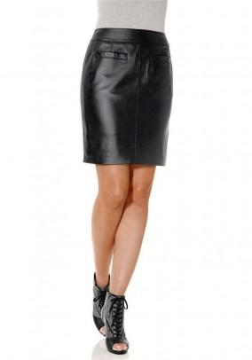 Leather skirt, black