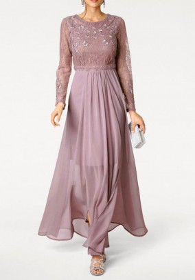 Rausva ilga vakarinė suknelė