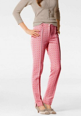 Jacquard trousers, red-white