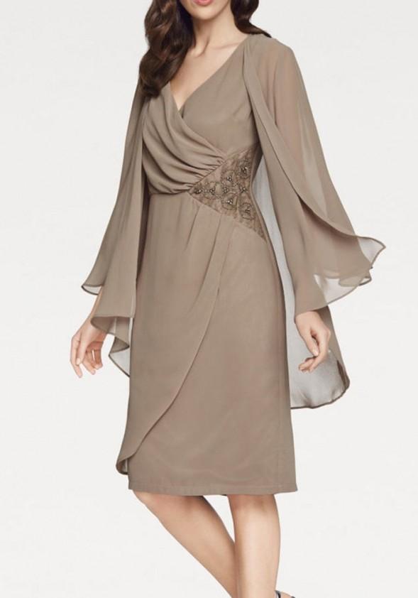Ruda kokteilinė suknelė su skraiste