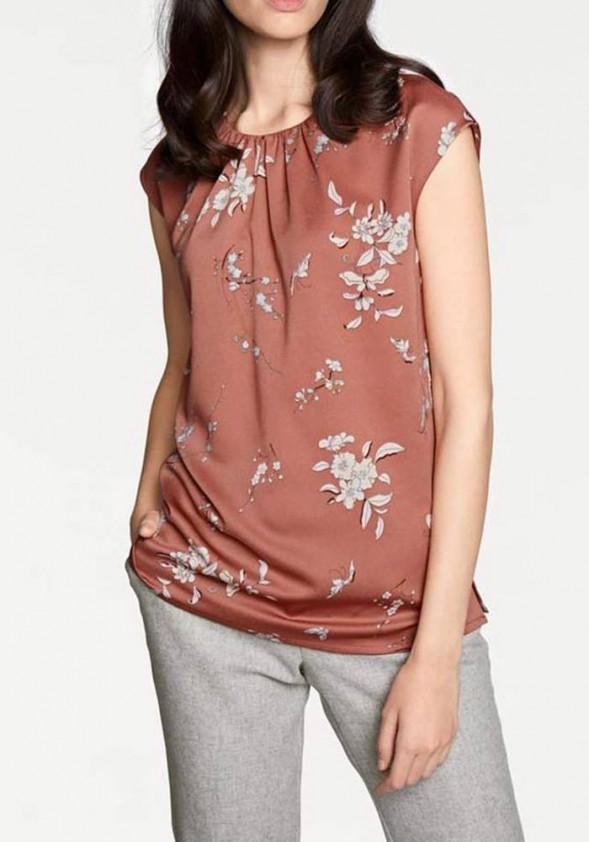 Print blouse, terracotta