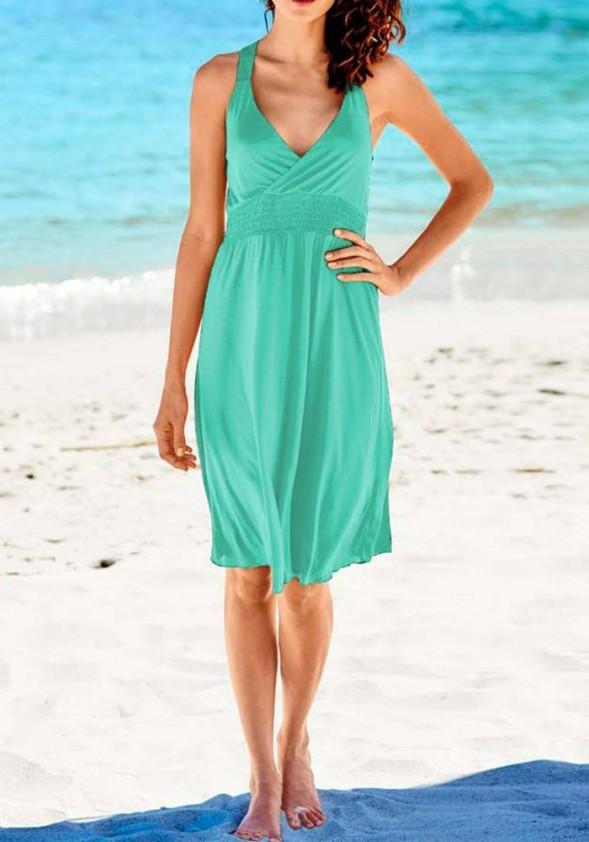 Smaragdinė laisvalaikio suknelė