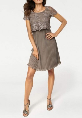 Chiffon dress, taupe