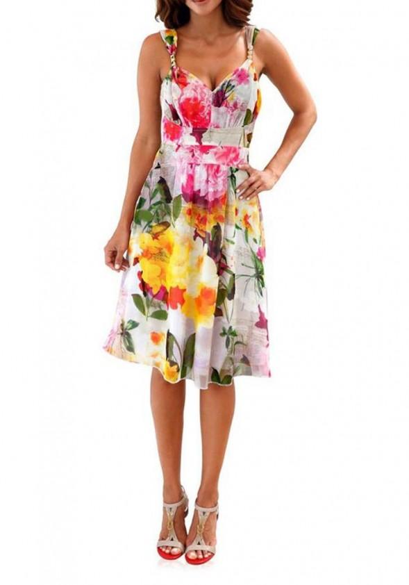 Romantiška gėlėta suknelė