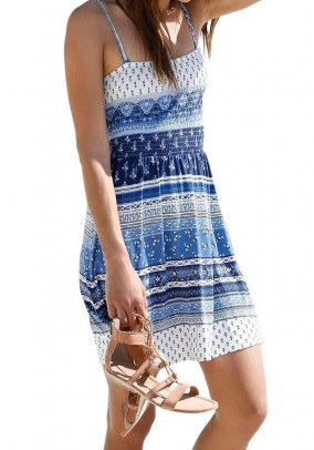 2-in-1 dress, blue-patterned