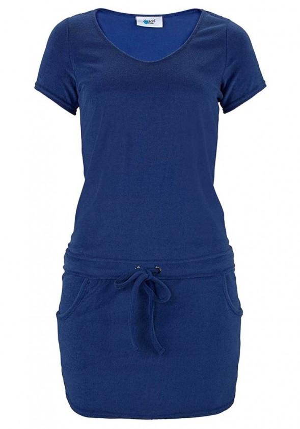 Trumpa mėlyna paplūdimio suknelė