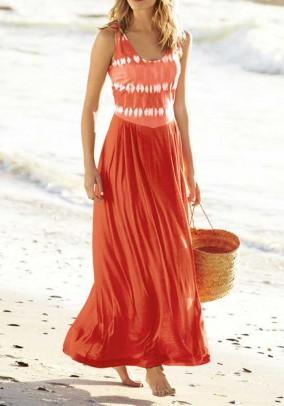 Ilga oranžinė vasarinė suknelė