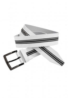 Leather belt, white-black