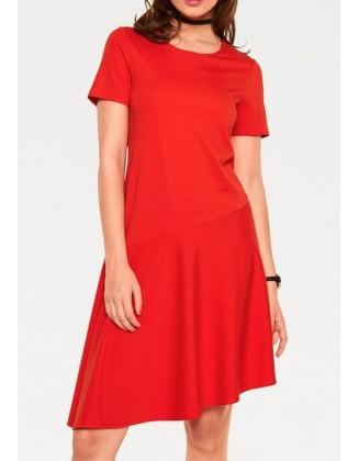 Koralo spalvos asimetrinė suknelė