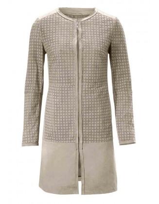 Originalus rudas odinis paltas