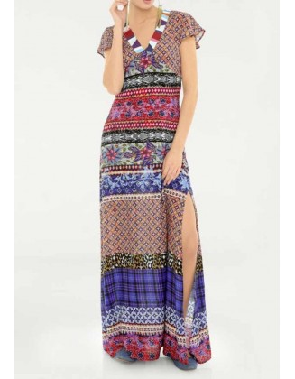 Margaspalvė maxi ilgio suknelė