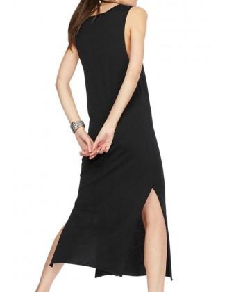Juoda aptempta midi ilgio suknelė