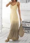 Ilga pastelinių spalvų suknelė