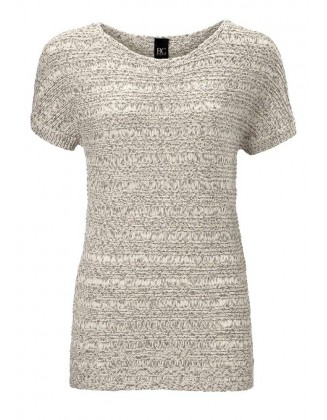 Pilkas megztinis trumpomis rankovėmis