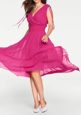 Rožinė asimetrinė suknelė