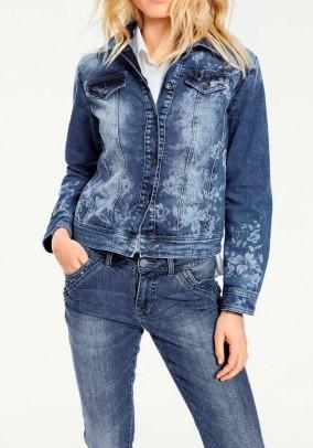 Dekoruotas mėlynas džinsinis švarkas