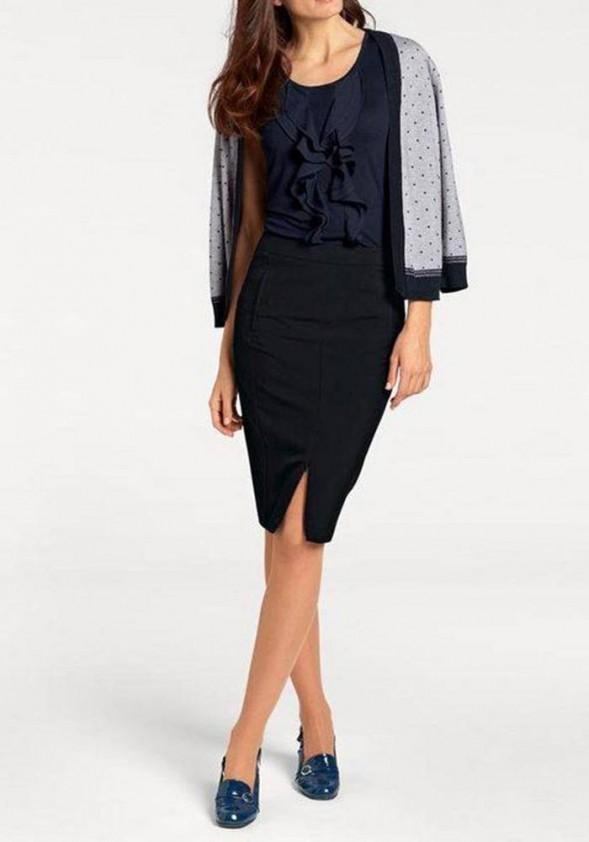 Tamsiai mėlynas klasikinis sijonas