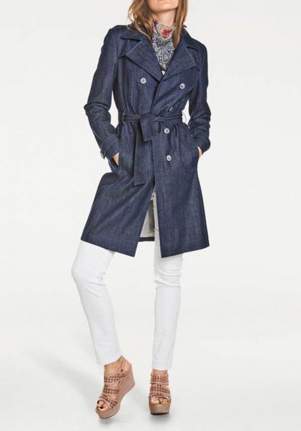 Mėlynas džinsinis paltas