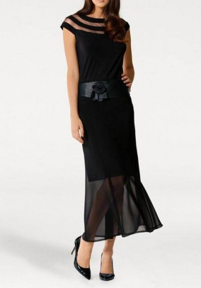 Chiffon skirt, black