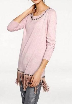 Ilgas rausvas megztinis su kutais
