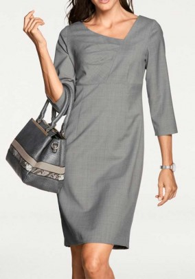 Pilka klasikinė vilnonė suknelė