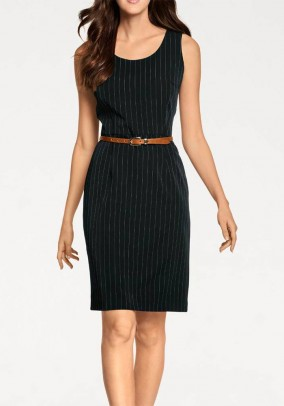 Pin stripe dress, black-white