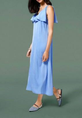 Maxi dress with flounces, blue