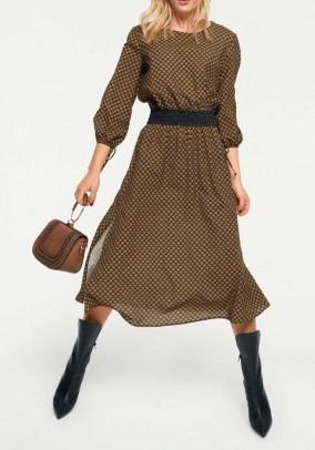 Print dress, cognac-multicolour