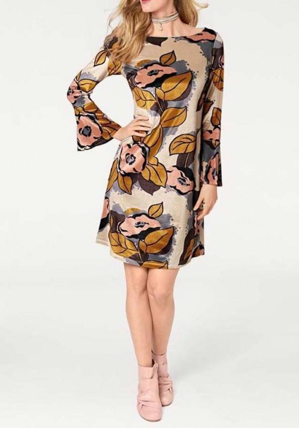 Aksominė rusva suknelė