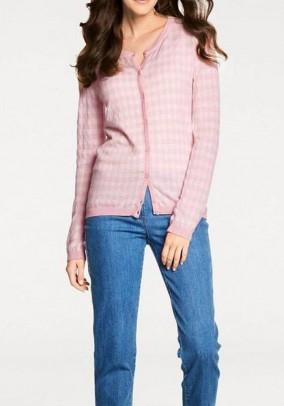 Rausvas languotas megztinis su kašmyru